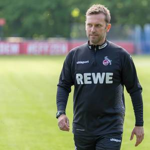Close up of André Pawlak, new 1. FC Köln football coach, leaves first training session satisfied, in Cologne, Germany