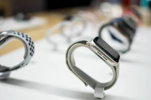 Close up of  Apple Watches in a store.