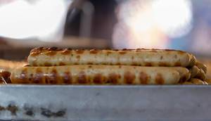 Close-up of barbecue sausages on a grill