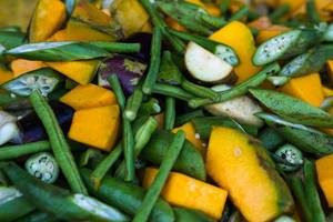 Close up of chopped squash and okra vegetables