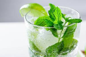 Close-up of cocktail with ice, fresh mint and lime