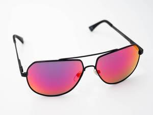 Close-up of colorful polarized sunglasses