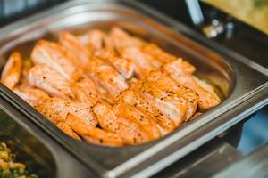 Close Up Of Cooked Salmon With Pepper