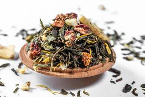 Close Up of Dried Green Oolong Tea with Dried Fruits like Banana and Strawberry