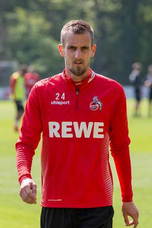 Close-up of German soccer player and 1. FC Köln midfielder Dominick Drexler during training with the new football coach André Pawlak