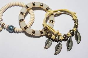 Close up of native bracelets