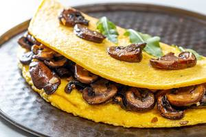 Close-up of omelet with mushrooms