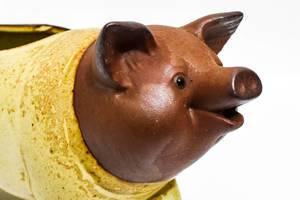 Close up of piggy bank figurine