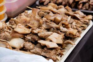 Close up of pork barbeque on a tray