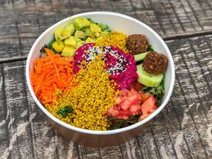 Close-up of rainbow bowl