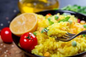 Close up of rice porridge on a fork (Flip 2019)