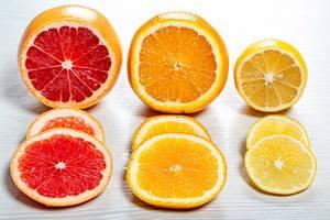 Close up of sliced fresh ripe citrus