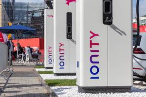 Close-up of the new European charging station network IONITY HPC with charging plug