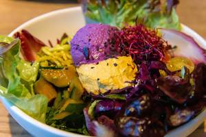 Close-up of the Raw Superbowl at Flax&Kale in Barcelona, with ball of red cabbage, cucumber asazuke and cherry tomatoes with salad