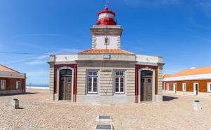 Close Up of the red lighthouse at Cabo da Roca
