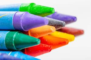 Close-up of the tips of thick colored pencils