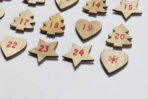 Close up of wooden Advent calendar