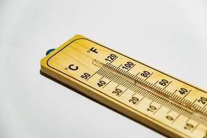 Close up of wooden thermometer