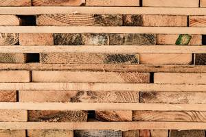 Close Up on a Stacked Lumber at a Sawmill