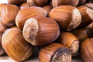 Close up on pile of Hazelnuts