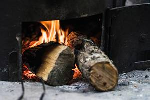 Close Up on the Wood Logs On Fire