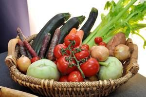 Close Up Photo of Basket with many different Vegetables like Tomatoes, Cherry Tomatoes, Onions, Zucchini, Potatoes, Radish and Leek