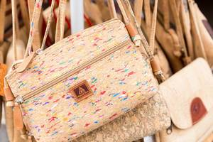 Close Up Photo of Cork Handbags sold in Madeira, Portugal