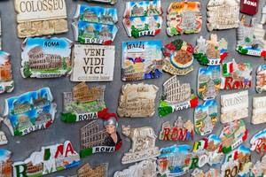 Close Up Photo of different Fridge Magnets as Souvenirs in Rome, Italy