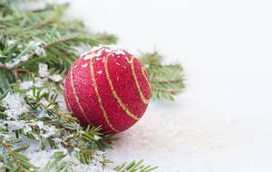 Close Up Photo of Red Decorative Christmas Ball next to Tree Branch with Artificial Snow on white Background