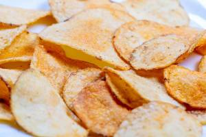 Close up potato chips, top view