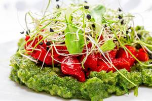 Close-up salad with onion sprouts, sweet peppers and green puree made of vegetables and herbs