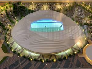 Close-up shot of a model of Al Wakrah Stadium