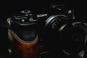 Close up shot of a sony camera with a vintage lens