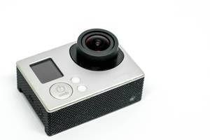 Close up shot of action camera on white background