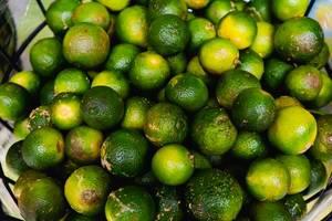 Close up shot of fresh calamansi fruit