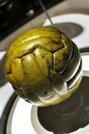 Close Up Shot of Original Football of World Cup Final Germany - Hungary in Bern 1954