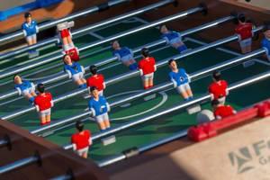 Close-up shot of table football