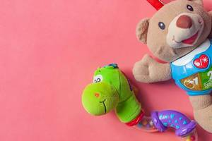 Close Up Top View Photo of Snake and Bear as Stuffed Toys and Child Rattles on Pink Background