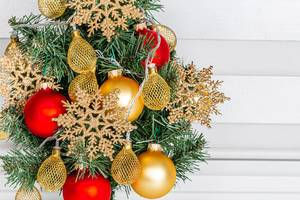 Closeup decorated Christmas tree with garlands and snowflakes (Flip 2019)