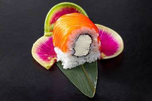 Closeup of a sushi roll Philadelphia with salmon (Flip 2019)