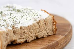 Closeup of Bread spreaded with Sour Cream (Flip 2019)