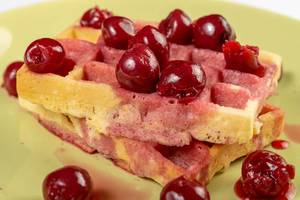 Closeup of Cherry Compote with Waffles