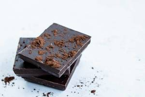 Closeup of Cocoa Powder and Dark Chocolate (dt. dunkle Schokolade)