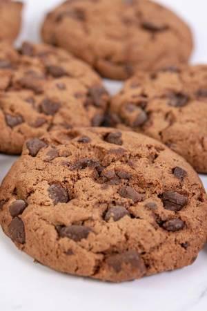 Closeup of Crisp Chocolate Brownie Biscuits