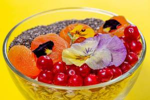 Closeup of healthy breakfast oatmeal with fruit and chia seeds on yellow background (Flip 2019)