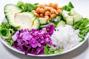 Closeup of healthy vegetarian food (Flip 2019)