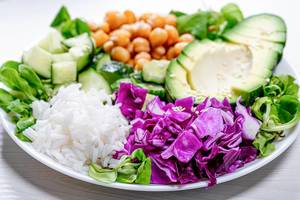 Closeup of healthy vegetarian food
