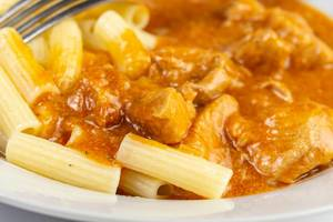 Closeup of served Beef Stew with Pasta