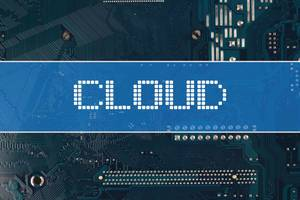 Cloud text over electronic circuit board background