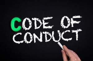Code of conduct text on blackboard